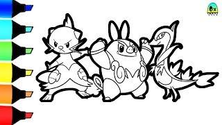 pokemon starters dewott servine pignite coloring p