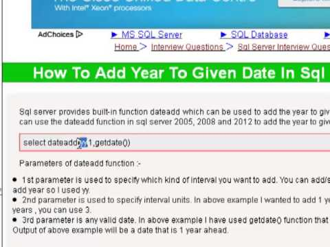 How to add year to given date in sql server