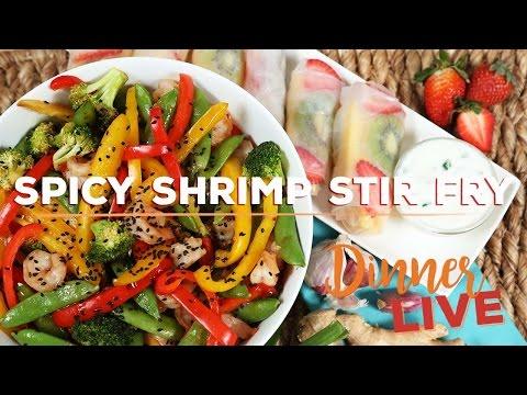 Spicy Shrimp Stir Fry | Dinner LIVE with Mind Over Munch