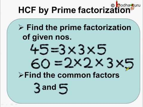 Math -  How to find HCF By Prime Factorization - English