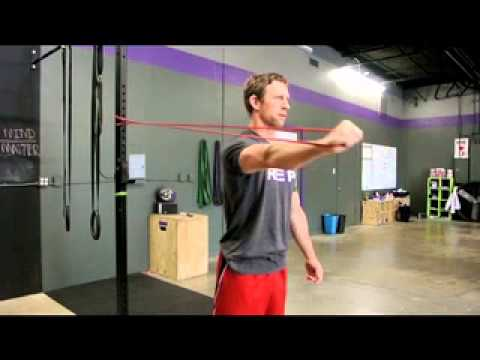 Shoulder mobility playtime with bands