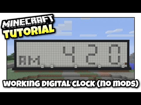 Minecraft - WORKING DIGITAL CLOCK [ No Mods ] Redstone Tutorial - MCPE / PS4 / XBOX / PS3 / WII U