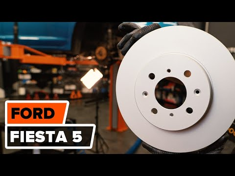 How to replace front brake discs and front brake pads on FORD FIESTA 5 TUTORIAL | AUTODOC