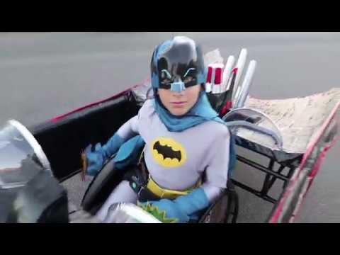 Awesome Wheelchair Batmobile Costume with Batman, Robin & Batgirl!