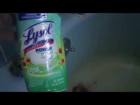 Trying Toilet Bowl Cleaner to Remove Rust Stain in Tub!