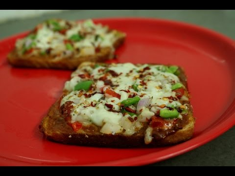 Bread Pizza- without oven quick recipe