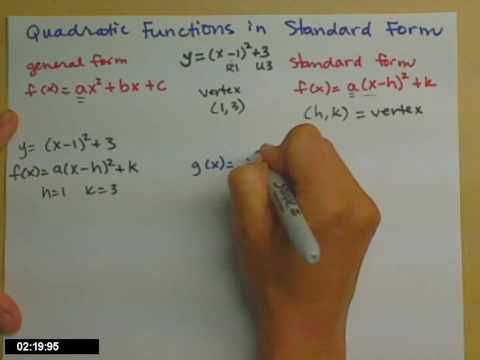 Putting a quadratic function in standard form