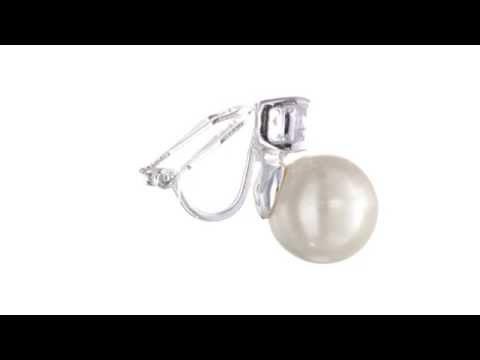 LAUREN by Ralph Lauren Pearl w/ Cubic Zirconia Clip Earrings  SKU:8508633