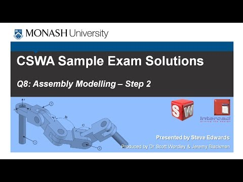 SolidWorks CSWA Practice Exam Solutions Part 8: Q7 Assembly Modelling Step 2