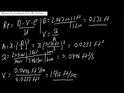 """Calculating Reynolds Number & Type of Flow for 2"""" schedule 40 pipe"""