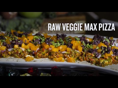 Raw Veggie Max Pizza with Cashew Cheese!