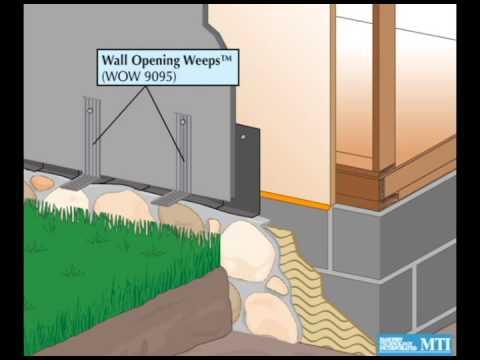 Wall Opening Weep Installation in Thin Stone Veneer Run-to-Grade Wall