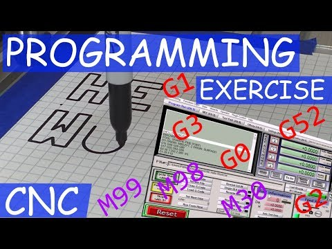 CNC 3020T/MACH3 - Hand Coding Exercise - HELLO WORLD - 3 Axis Programming