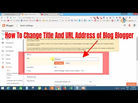 How To Change Title And URL Address of Blog Blogger