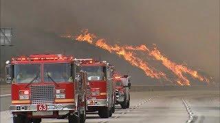 LA battles largest wildfire in city