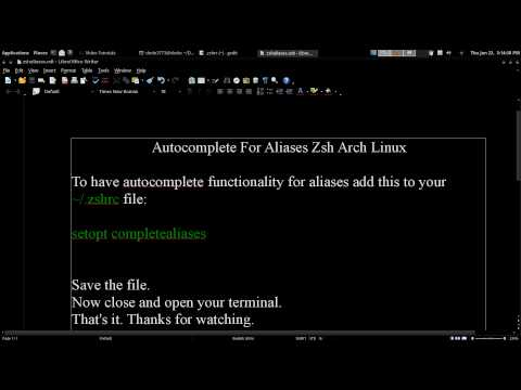 Autocomplete For Aliases Zsh Arch GNU / Linux