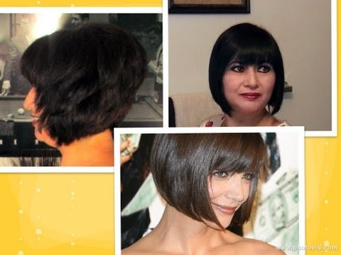 How to: cut hair at home do a Short Stacked Chin length BOB HAIRCUT with Bangs layers Tutorial
