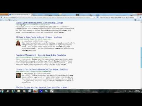 Control the Entire First Page of Google Results for your Name or Website