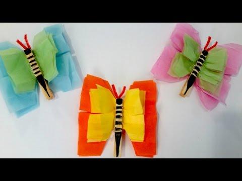 Tissue Paper Butterflies - Easy Summer Craft for Kids
