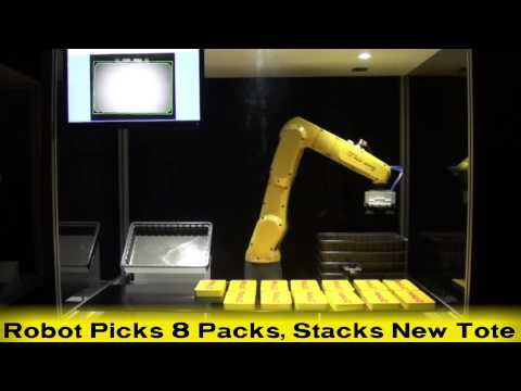 New FANUC LR Mate 200iD/7L Long-Arm Robot Picks & Packs Stackable Products