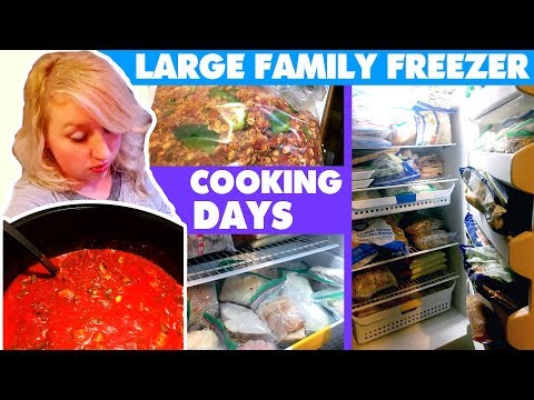 LARGE FAMILY FREEZER COOKING Day One | Freezer Meatballs, Mashed Potatoes, Baked Spaghetti, +More!