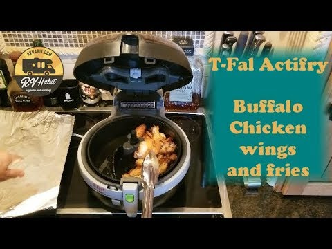 T-Fal Actifry Review and Demo Buffalo Chicken Wings and French Fries - RV Cooking