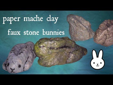 diy: faux stone paper mache clay bunny