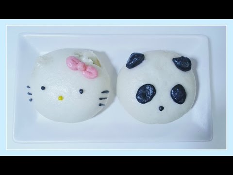 Hello Kitty And Panda Steamed Buns With Red Bean Filling