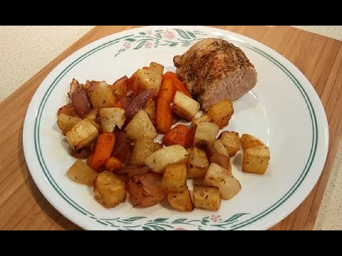 Pork Tenderloin Roasted with Rosemary Thyme Vegetables (Dr Poon / Low Carb)