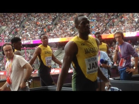 USAIN BOLT IAAF World Athletics Championships Day 9, London 2017. 4 x 100m Relay & greeting fans