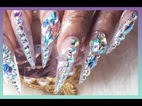 Blingy Clear Stiletto Sculpted Acrylic Nails