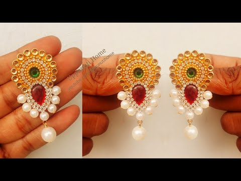 How To Make Simple And Beautiful Pearl Earrings At Home | DIY | Pearls Jewelry Making | uppunutihome