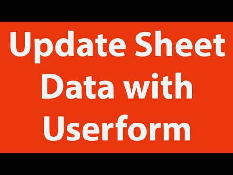 How to update excel worksheet data with userform