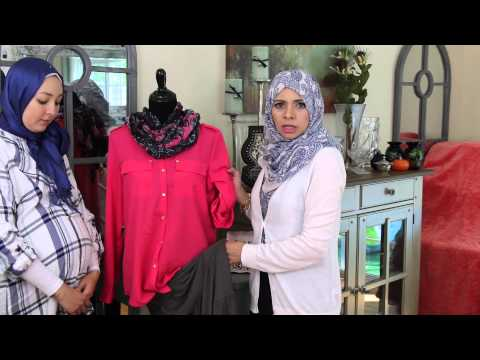 Modest Muslim Fashion - Gray Skirt Styled with 2 Different Tops
