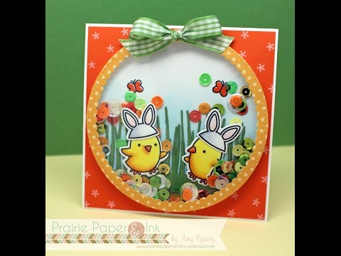 Lawn Fawn Chirpy Chirp Chirp | Shaker Card | AmyR's Spring & Easter Card Series #5