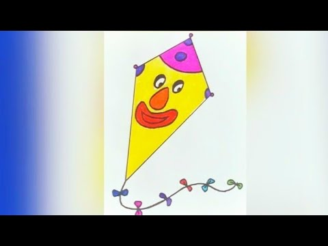 How to draw kite step by step for kids | how to drawing a cute and cartoon kite coloring page easy