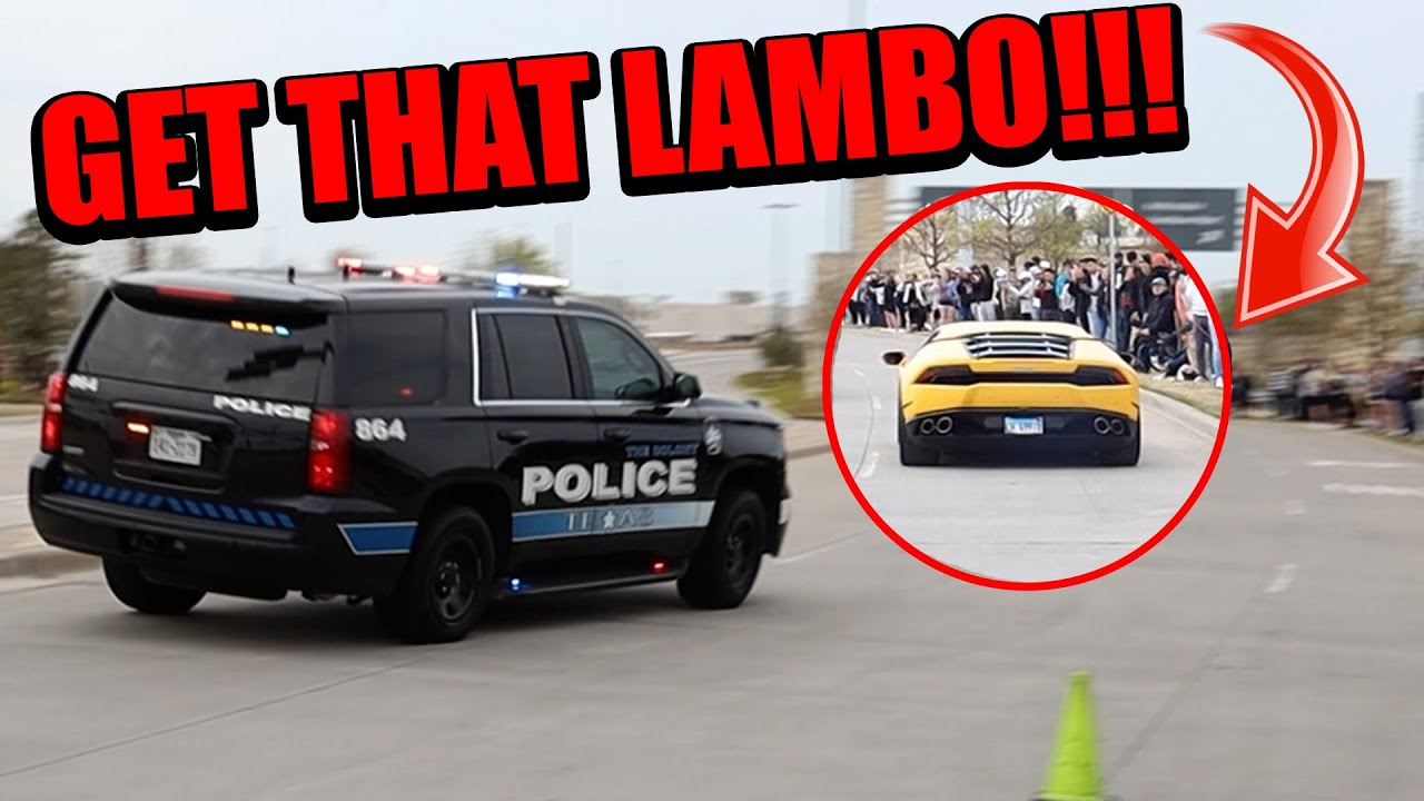 POLICE CHASE SUPERCARS THAT SEND IT & BURNOUT LEAVING CARS AND CANTINA DALLAS!!!