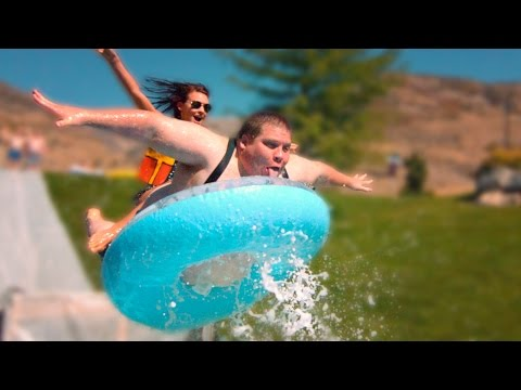 SLIP N SLIDE LAUNCHES PEOPLE INTO KIDDIE POOLS! // ScottDW