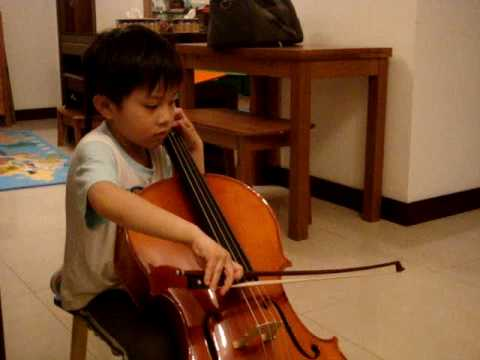5-year-old Him Him is playing his first cello song (Twinkle Twinkle Little Star)