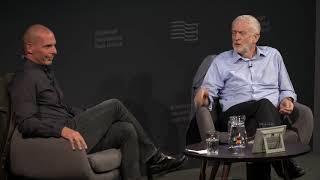 Jeremy Corbyn with Yanis Varoufakis at the Edinburgh Book Festival, August 20, 2018 | DiEM25