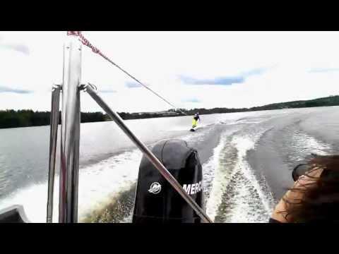 Fish Hawk 1650 pulling wakeboarder