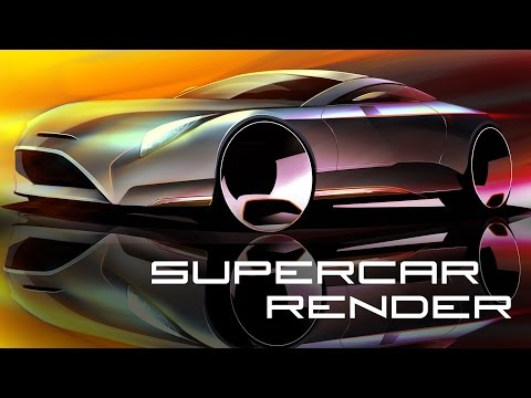 Supercar Concept Sketch Render - Autodesk SketchBook
