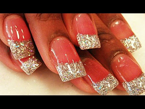 HOW TO SILVER GLITTER ACRYLIC NAILS