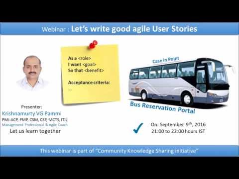 Let us write good agile User Stories