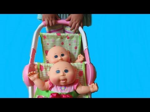 Cabbage Patch Kids Cuddle n' Stroll Stroller+ Twin Cuddlers + Twin Stroller