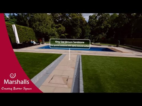 Sloping Social Sandstone Garden with Pool | Garden Fly-through | Marshalls