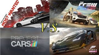 Need For Speed Most Wanted vs The Crew vs Project Cars vs Forza Horizon 3 - GAMEPLAY!
