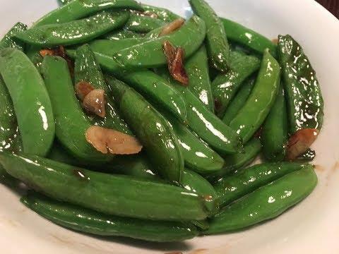Stir Fry Sugar Snap Peas with Sliced Garlic Recipe