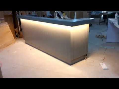 Beauty Lacquer wood Reception desk with drawers and sockets