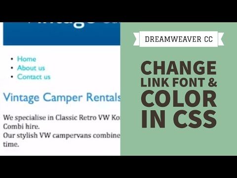 Change link font & color in CSS - Dreamweaver CC Tutorial [19/34]